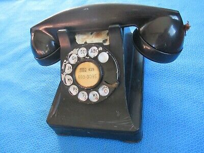 Vintage Metal Western Electric Bell System F1 Rotary Dial Desk Phone Telephone 4