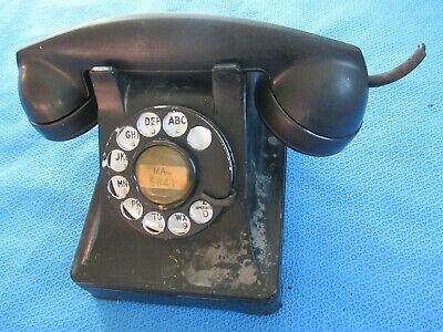 Vintage Metal Western Electric Bell System F1 Rotary Dial Desk Phone Telephone 5