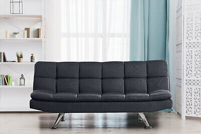 Padded 3 Seater  Sofa Bed Fabric 3 Seater  Suite Chrome Legs Cube Design