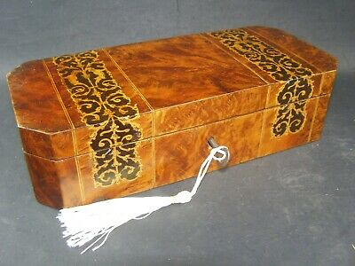 Antique Mahogany Inlaid Banded Pen & Pencil Box  Working Lock & Key c1890