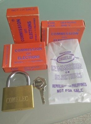 Rare Antique 1 Padlock Official Commission Elections of Philippines Brass