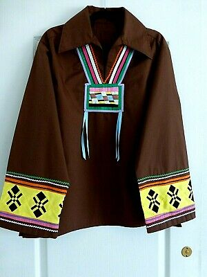 Auth.Native American Indian Northern Ute Handmade Men's Ribbon Shirt/ Large/70's