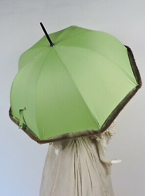 Vintage Unusual Faux Fur Trimmed Green Parasol W Lucite Handle Made In France