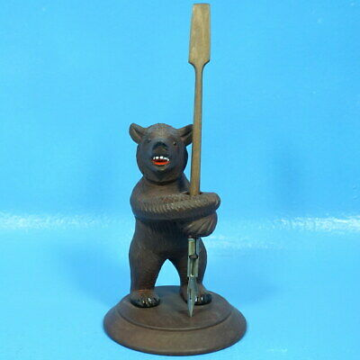 Antique Swiss Black Forest Wood Carved PEN PENCIL HOLDER BEAR Brienz c1920