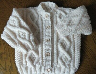 BABY ARAN JACKET HAND KNITTED BY SELLER  Fit 24-30 MONTH COLOUR NATURAL B-4-0 z