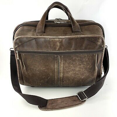 Solo Distressed Brown Leather Rolling Laptop Travel Bag