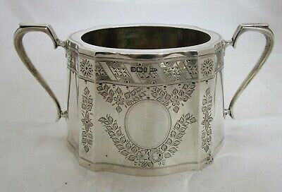 Fine Antique Victorian Sterling silver can shaped sugar bowl, 435 grams, 1899
