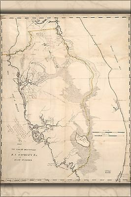 Poster, Many Sizes; Map Of Florida, Micanopy To Key Biscayne 1823