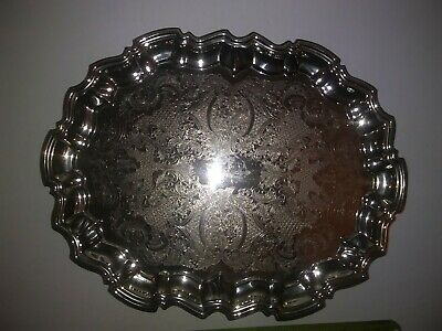 Vintage Leonard Silver Plate Engraved Footed Tray-English Silver MFG. Corp 14.5""