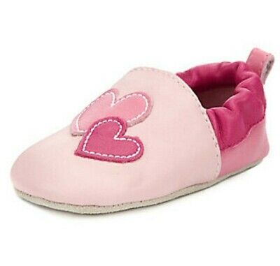 Baby Girls Clothes M&S Soft Pink Leather Pram Shoes/Slippers 12-18 Months BNIP