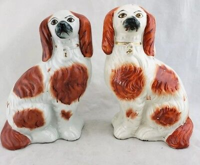 """Pair of original LARGE antique Vintage Staffordshire Spaniel Dogs, 8"""" talL"""