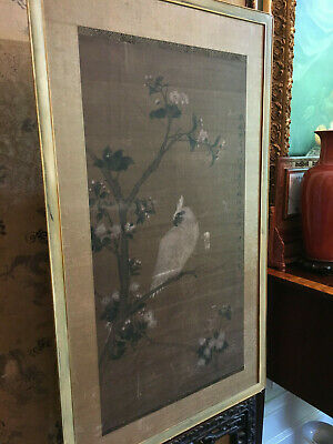 A Large Antique Chinese Painting on Silk , Artist signed.