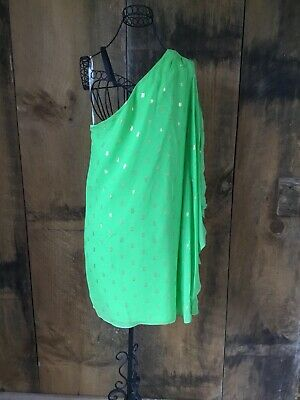 Lilly Pulitzer One-Shoulder Green Gold Dress - Sz. 4