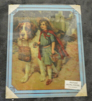 Antique Reproduction St. Bernard Dog & Girl Metal Poster