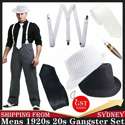 Mens 1920s 20s Gangster Set Hat Braces Tie Cigar Gatsby Costume Accessories AU