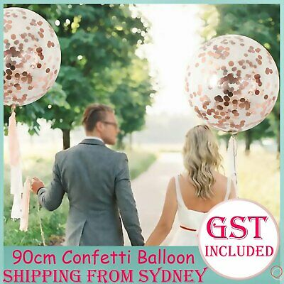 Giant Rose Gold Clear Confetti 90cm Latex Balloons Birthday Wedding Engagement A
