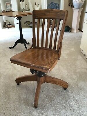 Vintage Solid Oak Armless Rolling Swivel Banker Office Desk Chair