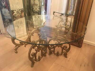 Rare Vintage Cast Metal Table Shabby Chic French Provincial