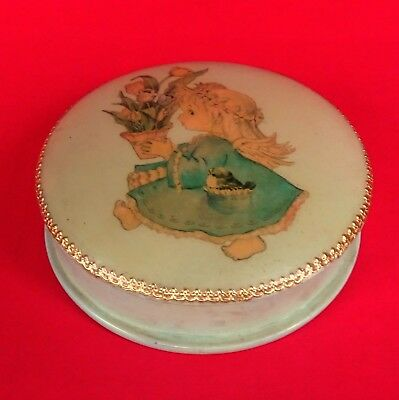 Vintage Paper Mache Lacquer Vanity Powder Puff Box Trinket Girl With Tulips Old