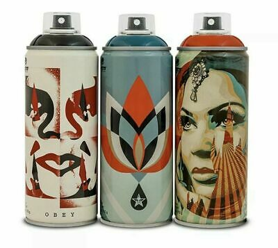 Shepard Fairey Obey SET OF 3 Montana Spray Cans Beyond the Streets Signed RARE