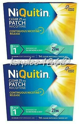 2 Packs x NiQuitin 21mg Clear 24 Hour 14 Patch Step 1. (Total 28 Patch) Oct.2021
