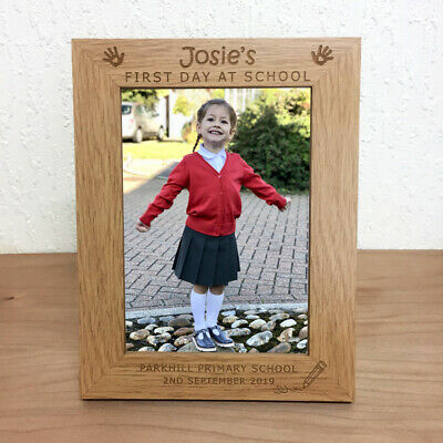 First Day at School Personalised Photo Frame Nursery Preschool Engraved Gift