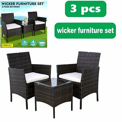3PC Patio Rattan Wicker Chair Sofa Table Patio Garden Furniture with Cushion Set