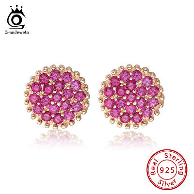 S925 Silver Red Pave Setting Cubic Zirconia Stud Earring Rose Women Jewelry Gift