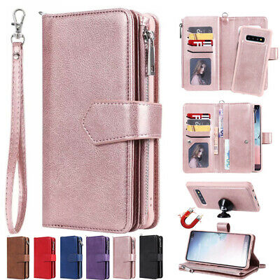 Samsung Galaxy Note10 5G S9 S10+ Removable Zipper Case Flip Leather Wallet Cover