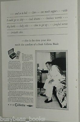1929 GILLETTE advertisement, Gillette Blades, Safety Razor Co., and so to bed