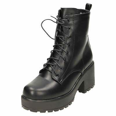 Platform Gothic Ankle Lace Up Zip Boots Chunky Punk Combat Heel Black Womens