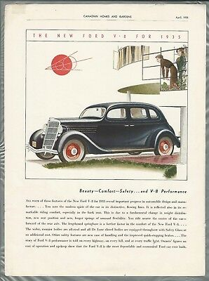 1935 FORD advertisement, Canadian ad, Ford V-8 sedan, color art