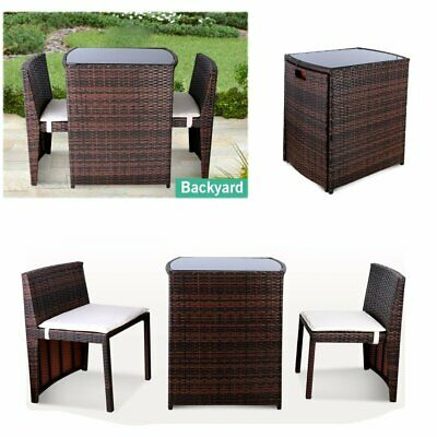 3PCS Space Saving Patio Furniture Wicker Rattan Bistro Balcony Table Chair Set