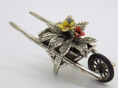 Vintage Solid Silver Italian Made Wheelbarrow Miniature, Figurine, Stamped*