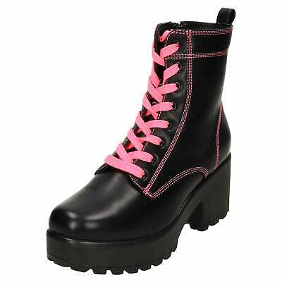 Chunky Platform Ankle Neon Pink Lace Up Black Boots Gothic Punk Mid Heel