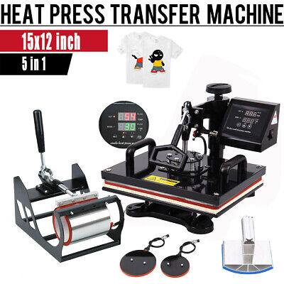 Ridgeyard 5in1 Heat Press Machine Transfer Sublimation T-Shirt Hat Mug Cup 15x12