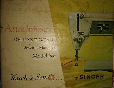 Vintage Deluxe Zig-zag Model 600 Sewing Machine Attachments By Singer