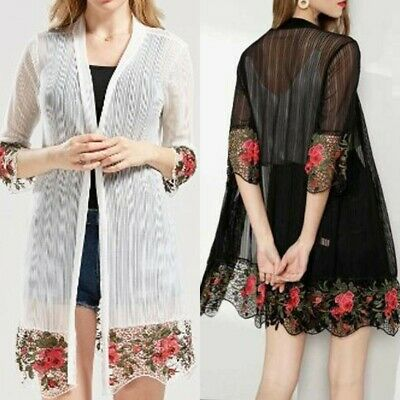 Fashion Women's Cardigan Half Sleeve Embroidery Flower Color Leisure Long Blouse