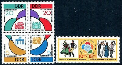 EAST GERMANY-1962 World Youth Festival Games Sg E640a & 642a UNMOUNTED MINT