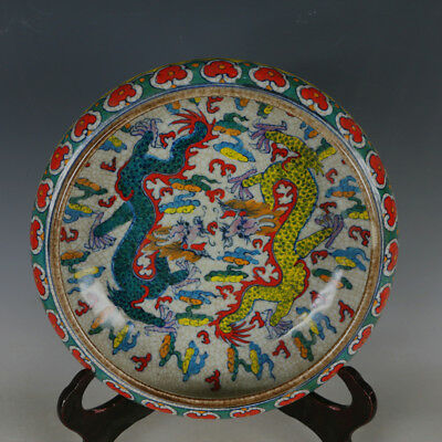 China old antique Porcelain QING YONGZHENG Colorful Two dragons Brush Washer