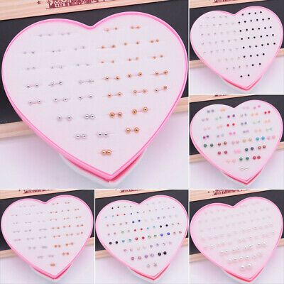 Lot Of 36 Pairs Womens Crystal Rhinestone Ear Stud Earrings Heart-shape Box Hot