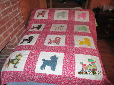 Prety Poodle   Appliqued  Quilt Top New  6/2019