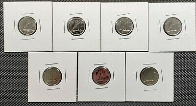 Canada 1974 - 1980 Set of 7 Different 10 Cents Specimen Coins Collection Lot