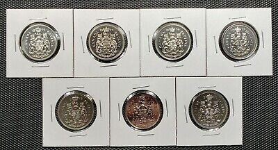 Canada 1974 - 1980 Set of 7 Different 50 Cents Specimen Coins Collection Lot