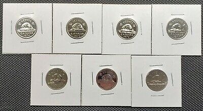 Canada 1974 - 1980 Set of 7 Different 5 Cents Specimen Coins Collection Lot