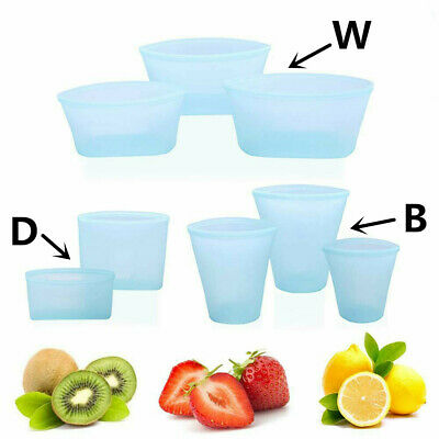 Reusable Silicone Food Fruit Storage Bags Zip Leak Proof Container Zipper Bag US