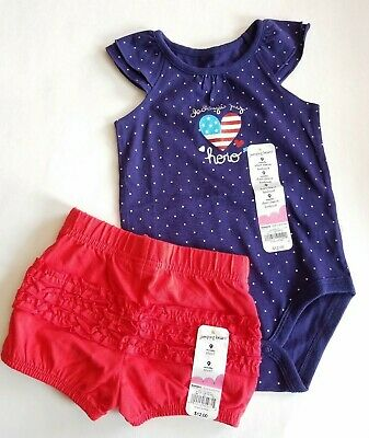 Jumping Beans Infant Girls 2 Pc Outfit Set Patriotic 4th Of July NWT Size 9 Mo