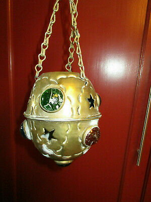 Vintage Pierced Lantern Candle MOROCCAN TURKISH BRASS GLASS DOMES small