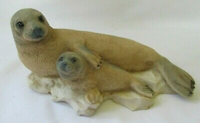 Castagna Italy Mother And Baby Seal Pup 1991 Sculpture