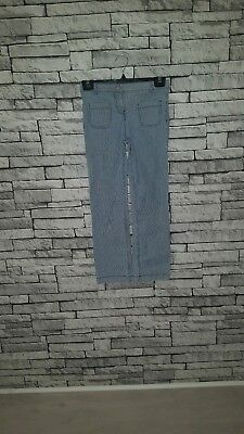 Age 10 Year Old Girl Mini Boden Blue & White Pinstripe Jeans Chino Trousers